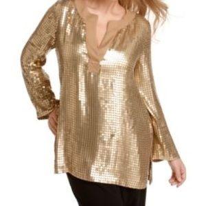 Michael Michael Kors Gold Sequin Top Shirt Medium